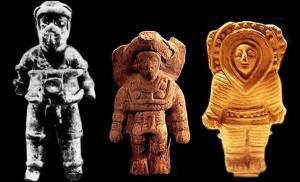 Statuette di epoca Maya: sono comuni le rappresentazioni di figure umane che indossano copricapo simili a caschi.