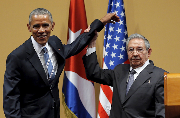 U.S. President Barack Obama and Cuban President Raul Castro gesture after a news conference as part of President Obama's three-day visit to Cuba, in Havana March 21, 2016. REUTERS/Carlos Barria - RTSBJ7Z